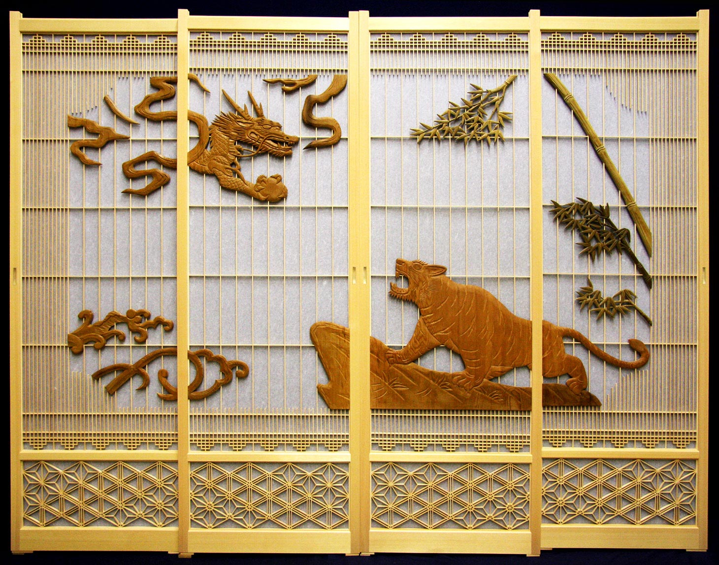Hand carved dragon and tiger motif Shoji sliding door