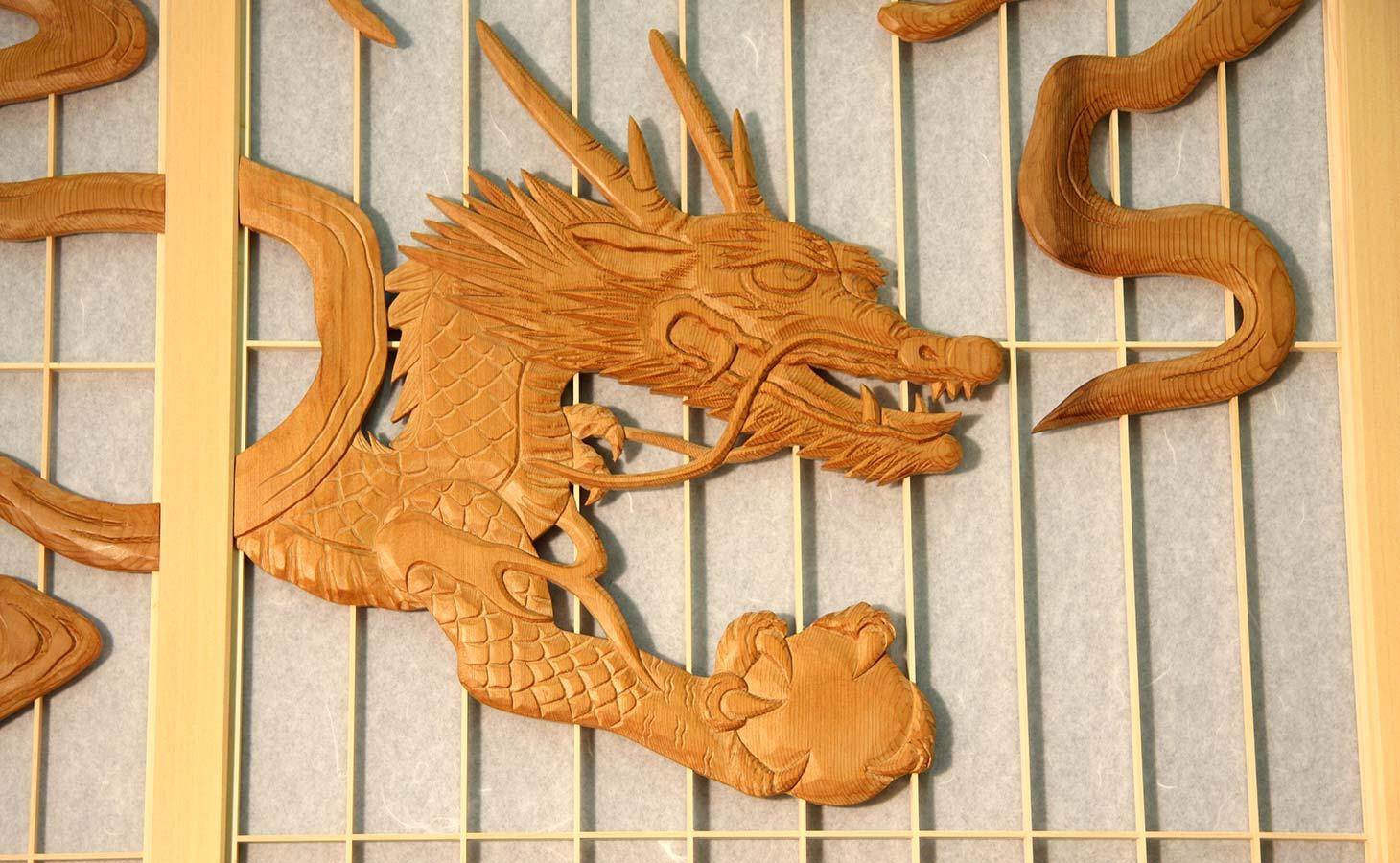 龍虎彫刻入飾り障子-龍-